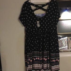 Torrid black dress with print
